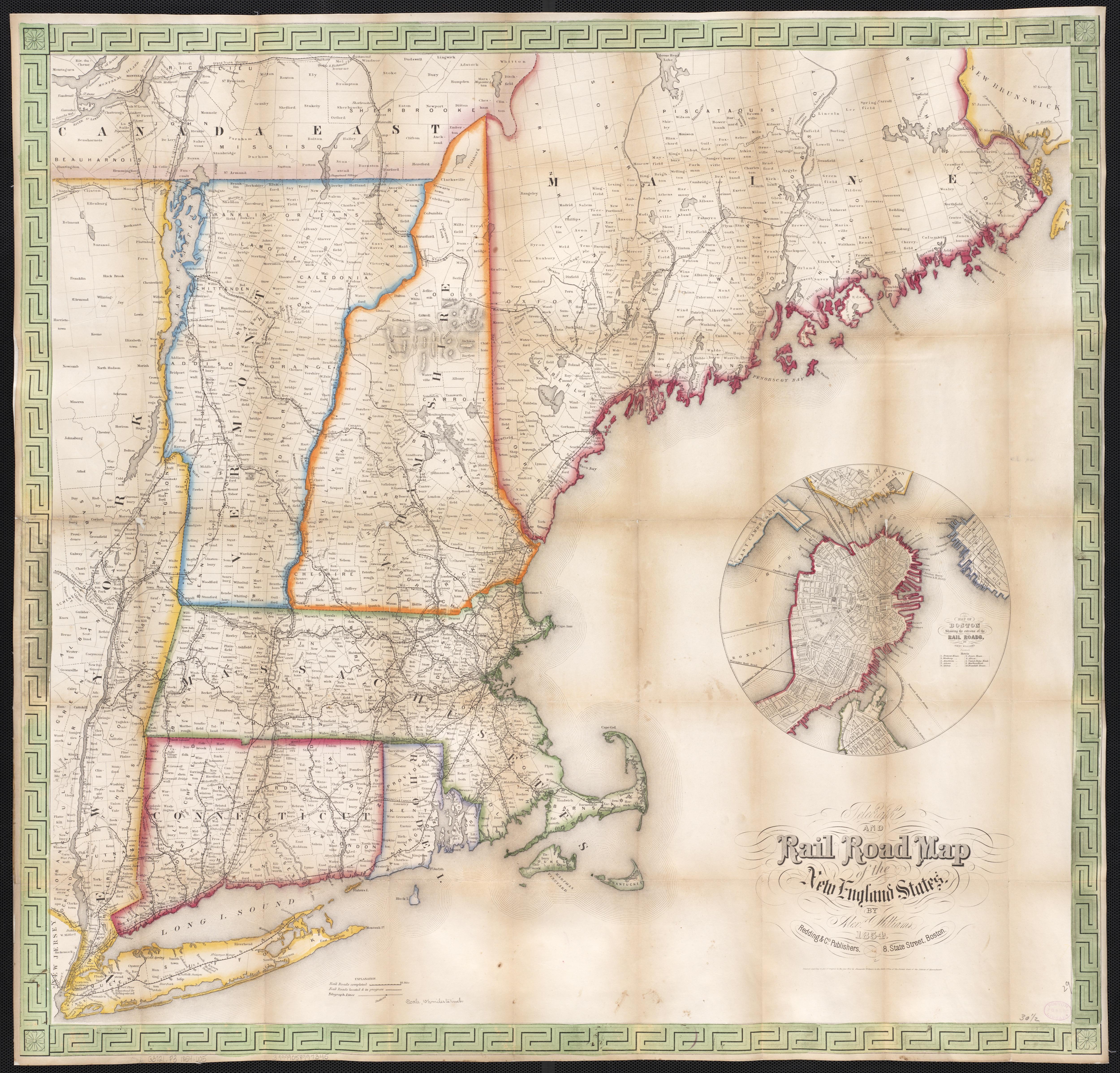 1854 Railroad Telegraph Map